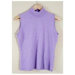 Sleeveless Mock Neck Lavender Lightweight Top